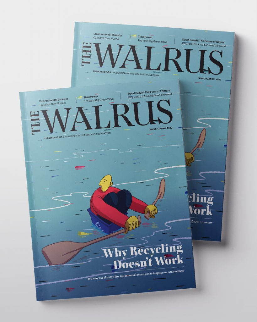 An illustrative poster of a cover meant for The Walrus publication. A man seated in a recycling bin rows amidst a sea of colourful trash.